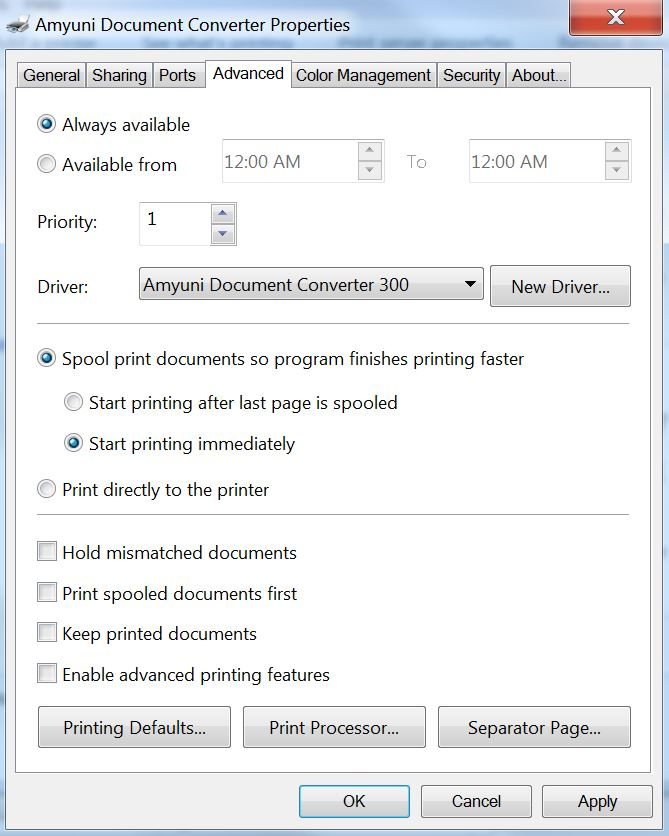 Printing to Amyuni Hangs on WIndows 7 64 Bit - Pro Support